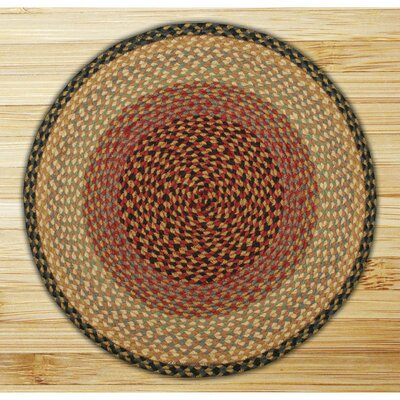 Braided Burgundy/Gray Area Rug Rug Size: Round 4