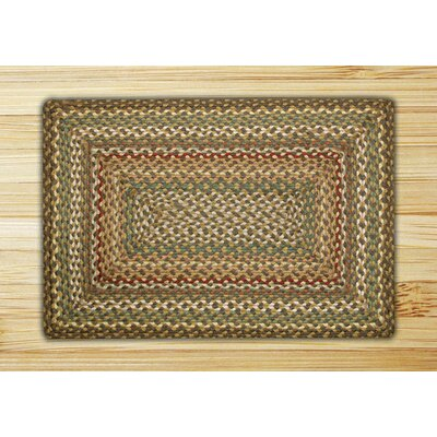 Fir/Ivory Braided Area Rug Rug Size: 18 x 26