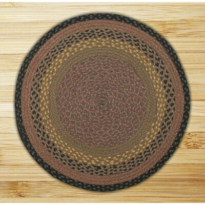 Braided Brown/Black Area Rug Rug Size: Round 4