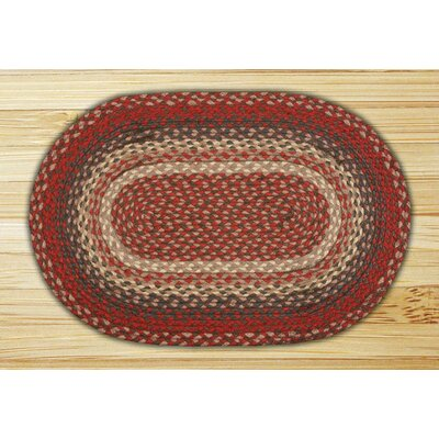 Burgundy Braided Area Rug Rug Size: Oval 23 x 39