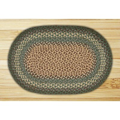 Dark Green Braided Area Rug Rug Size: Oval 18 x 26