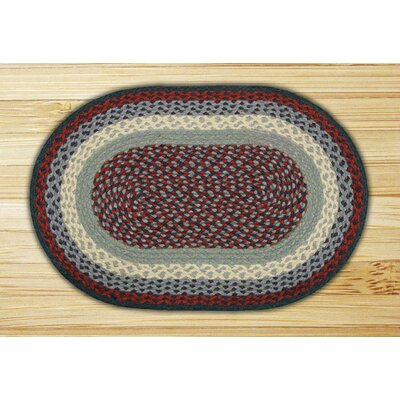 Blue/Burgundy Braided Area Rug Rug Size: Oval 3 x 5