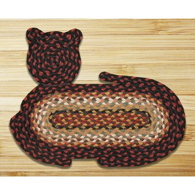 Burgundy/Mustard/Ivory Cat Shaped Rug