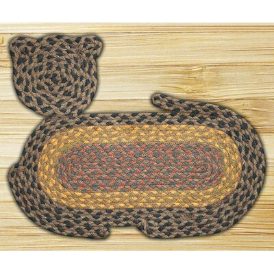 Brown/Black/Charcoal Cat Shaped Rug