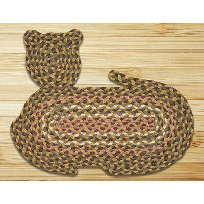 Olive/Burgundy/Gray Cat Shaped Rug