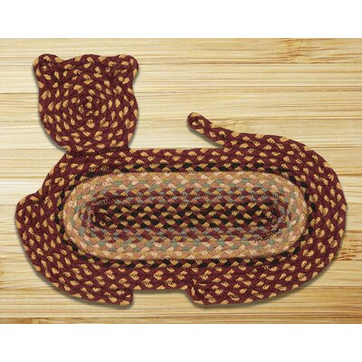 Cat Shaped Hand Braided Burgundy/Cr�me Area Rug