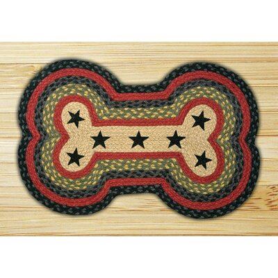 Black Stars Printed Dog Bone Shaped Rug