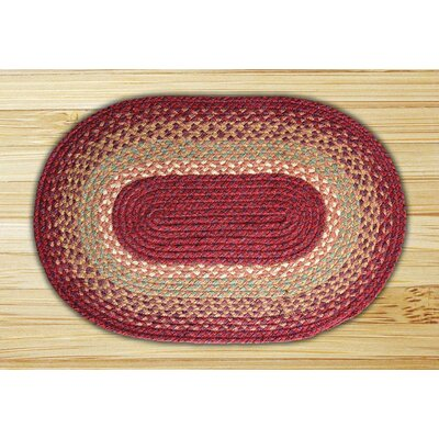 Burgundy/Maroon/Sunflower Braided Area Rug Rug Size: Oval 18 x 26