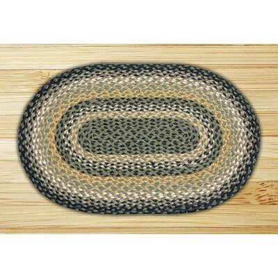 Black/Mustard/Creme Braided Area Rug Rug Size: Oval 18 x 26