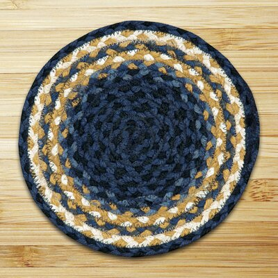 Braided Blue Area Rug Rug Size: Round 4