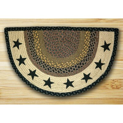 Stars Printed Black Slice Area Rug