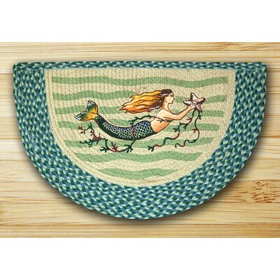Mermaid Printed Turquoise Slice Area Rug