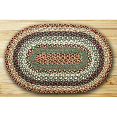 Oval Braided Buttermilk/Cranberry Area Rug Rug Size: Oval 18 x 26