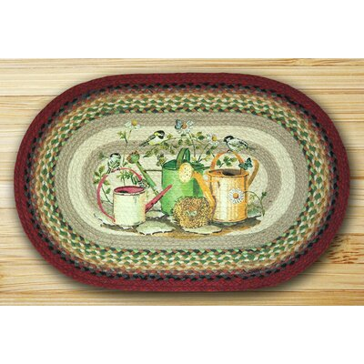 Chickadee Butterfly Oval Multi Patch Area Rug