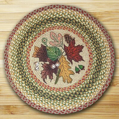 Autumn Leaves Tan Area Rug Rug Size: Round 23