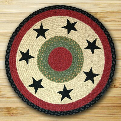 Black Stars Patch Cream Area Rug Rug Size: Round 23