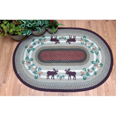 Moose Oval Gray Patch Area Rug