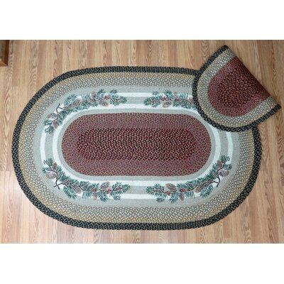 Pinecone Red Berry Multi Oval Patch Area Rug