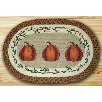 Harvest Pumpkin Orange Area Rug Rug Size: Oval 18 x 26