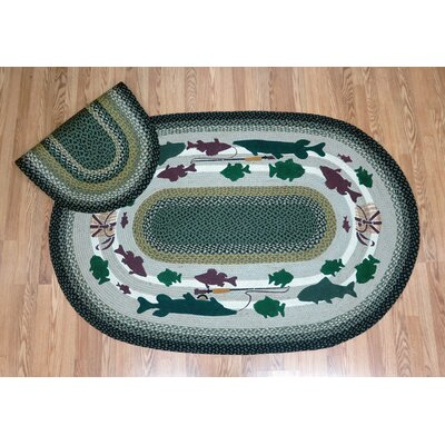 Lodge 2 Oval Green Patch Area Rug