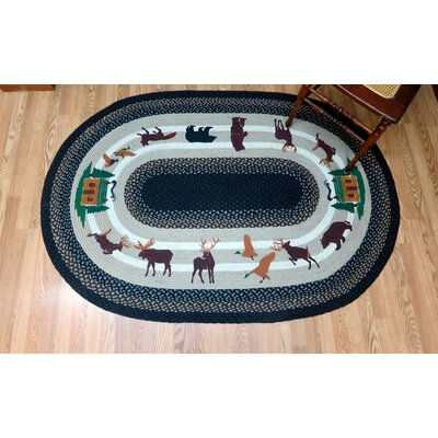Lodge 3 Oval Green Patch Area Rug