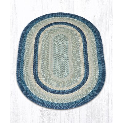 Braided Breezy Blue/Taupe Area Rug Rug Size: Oval 4' x 6'