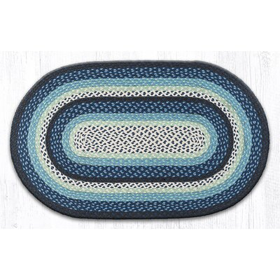 Blueberry/Creme Braided Area Rug Rug Size: Oval 23 x 39