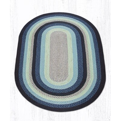 Blueberry/Creme Braided Area Rug Rug Size: Oval 5 x 8