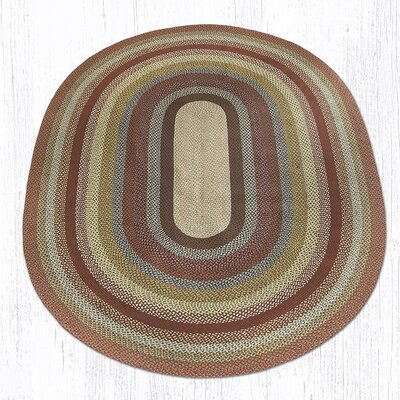Braided Red / Brown Area Rug Rug Size: Oval 8 x 11