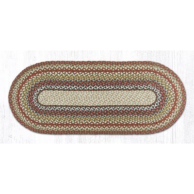 Braided Red / Brown Area Rug Rug Size: Oval 18 x 4