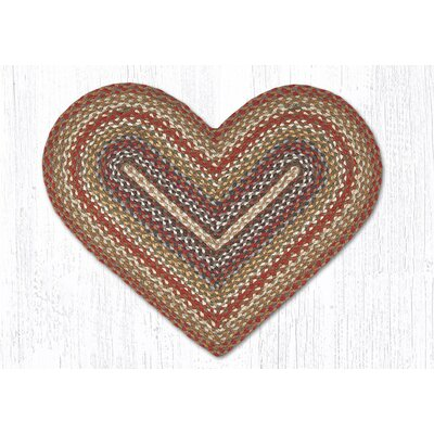 Braided Red / Brown Area Rug Rug Size: Semi-Circle 18 x 26