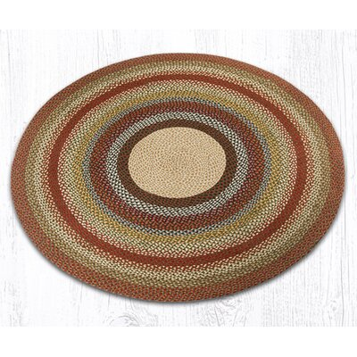 Braided Red / Brown Area Rug Rug Size: Round 59