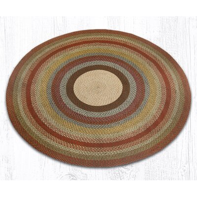 Braided Red / Brown Area Rug Rug Size: Round 79
