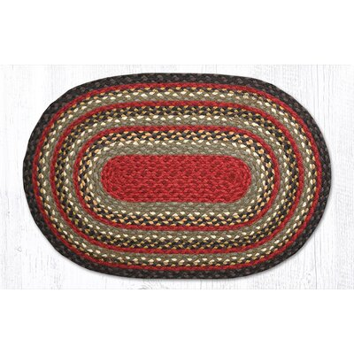 Burgundy/Olive/Charcoal Braided Area Rug Rug Size: Oval 18 x 26