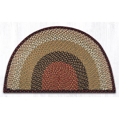 Braided Burgundy/Mustard Area Rug Rug Size: Semi-Circle 2 x 33