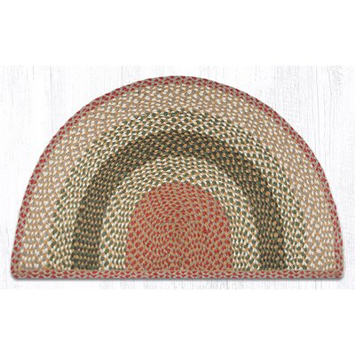 Braided Olive/Burgundy Area Rug Rug Size: Semi-Circle 2 x 33
