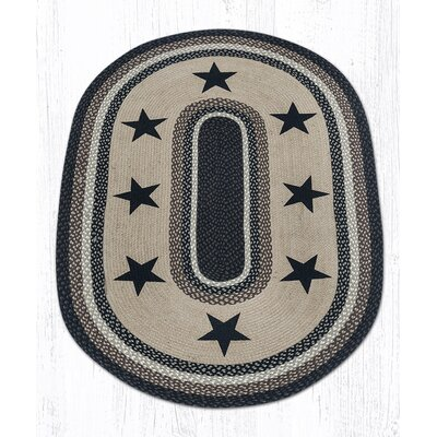 Black Stars Patch Area Rug Rug Size: Oval 4 x 6