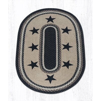 Black Stars Patch Area Rug Rug Size: Oval 3 x 5