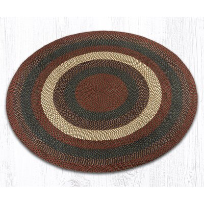 Braided Burgundy/Gray Area Rug Rug Size: Round 59