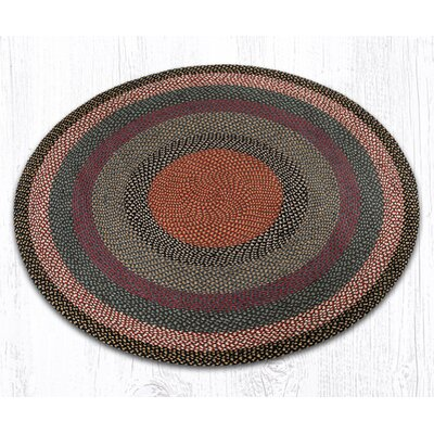 Braided Burgundy/Blue Area Rug Rug Size: Round 59