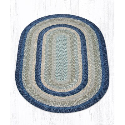Braided Breezy Blue/Taupe Area Rug Rug Size: Oval 5' x 8'