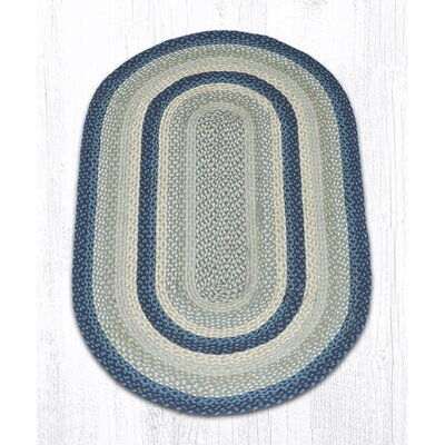 Braided Breezy Blue/Taupe Area Rug Rug Size: Oval 3' x 5'