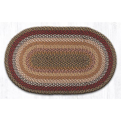 Oval Braided Brick/Clay Area Rug Rug Size: Oval 23 x 39