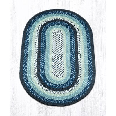 Blueberry/Creme Braided Area Rug Rug Size: Oval 3 x 5