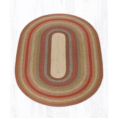 Braided Red / Brown Area Rug Rug Size: Oval 5 x 8