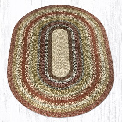 Braided Red / Brown Area Rug Rug Size: Oval 6 x 9