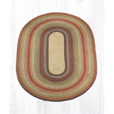 Braided Red / Brown Area Rug Rug Size: Oval 4 x 6