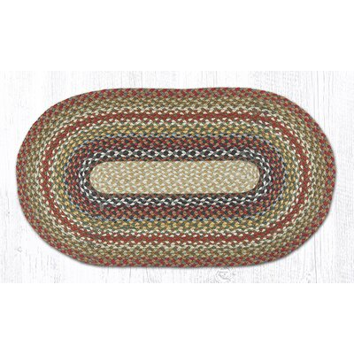 Braided Red / Brown Area Rug Rug Size: Oval 18 x 3