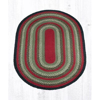 Burgundy/Olive/Charcoal Braided Area Rug Rug Size: Oval 4 x 6
