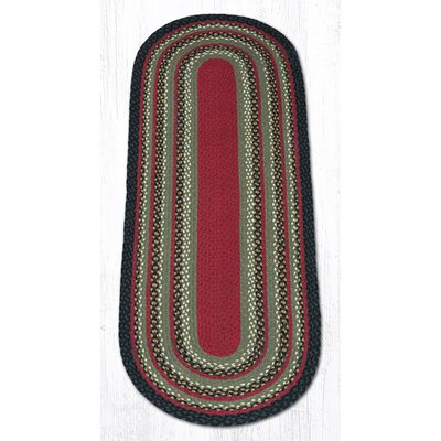Burgundy/Olive/Charcoal Braided Area Rug Rug Size: Oval Runner 2 x 6